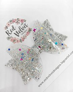 Image of Silver Jelly Hair Bow Handmade Hair Bows, Diy Hair Bows, Diy Bow, Bow Hair Clips, Felt Bows, Ribbon Bows, Ribbons, Girls Hair Accessories, Summer Accessories