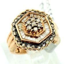 14K RG 2.0CT. Round, Baquette Cut Diamond Ring sz 6, 8.4g B41