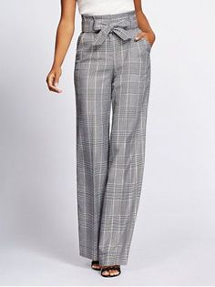 Tall Plaid Wide-Leg Pant - Gabrielle Union Collection - New York & Company Fashion Mode, Work Fashion, Fashion Pants, Fashion Outfits, Womens Fashion, Fashion Design, Trendy Fashion, Casual Outfits, Cute Outfits