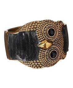 Look what I found on #zulily! Black & Goldtone Owl Bangle #zulilyfinds