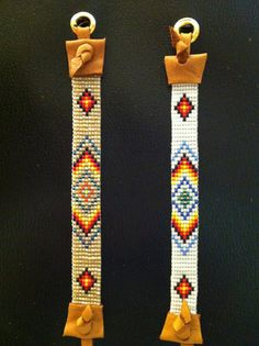 Native American Healing Spirit, yellow, orange, red, Loom beaded Bracelet with deerskin ties in Pearl white and Seashell background colors