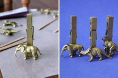 Clothespin Place cards | Gold Animal Toys