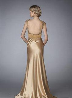 Golden V Neck Evening Formal Dresses Long