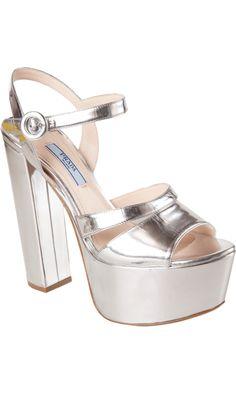 fa77e79c67079 Prada Metallic Platform Sandal  850 Trendy Shoes
