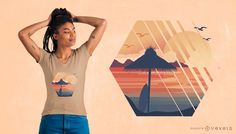 Summer Vacation T-Shirt Design featuring an illustration of a Caribbean beach landscape. Can be used on t-shirts, hoodies, mugs, posters and any other merchandi T Shirt Designs, Shirt Print Design, Family Vacation Shirts, Family Shirts, Shirts For Girls, Beach Vacation Spots, Cute Baby Cow, Rose T Shirt, Shirt Maker