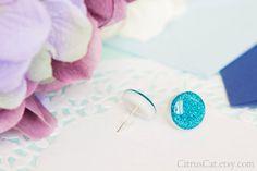 Glossy blue glitter stud earrings 15 mm glitter studs by CitrusCat
