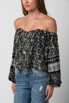 Gauze Print Long Sleeve Crop Top http://www.colorsofaurora.com/collections/crop-tops/products/gauze-print-long-sleeve-crop-top
