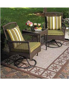 Sip your morning coffee or tea outside on this outdoor bistro set! Get it here: http://www.bhg.com/shop/better-homes-and-gardens-better-homes-and-gardens-bali-island-3-piece-rocking-outdoor-bistro-set-seats-2-p50dd8da3e4b0b696be233c44.html