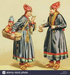 English: A painting of Sami women in traditional garments (costumes) with a child in Komse or child carrier. Edwardian Era, Victorian, Baby Carrying, Fun World, Old Images, Traditional Fashion, First Nations, Baby Wearing, Vintage Children