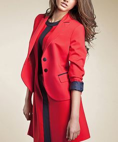 f4a51428a Love this Red & Black Contrast Blazer by NIFE on #zulily! #zulilyfinds