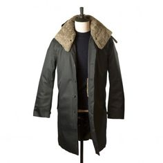 Norwegian Rain - Black herringbone Moscow raincoat with shearling collar and Arctic padded lining
