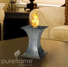 """10.2"""" Concave Fire Indoor/Outdoor Biofuel Tabletop Fireplace"""