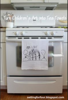How To Turn Children's Art Into Tea Towels - What an awesome gift for grandparents!