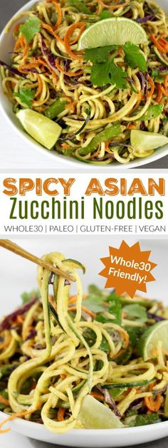 Spicy Asian Zucchini Noodles with Almond Butter Sauce | This chilled 'noodle' salad packed with crunchy veggies features a creamy almond butter dressing with a spicy kick. Serves 3 as a side dish or 2 as an entree with your protein of choice | Whole30 | Paleo | Vegan | http://therealfoodrds.com/spicy-asian-zucchini-noodles/