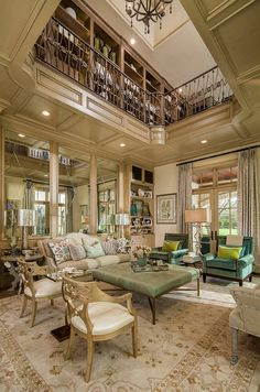 Impressive Two-Story Home Library Design Dallas Mansion Interior Mansion Interior, Interior Balcony, Expensive Houses, Mansions Homes, Deco Design, New Homes For Sale, Luxury Interior Design, Beautiful Interiors, Great Rooms