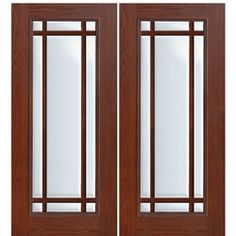 Shop for GlassCraft Full Lite 7 Lite fiberglass cherry wood grain double entry doors. GlassCraft uses a unique technology process that authentically reproduces the natural wood grain surface into a fiberglass door skin.