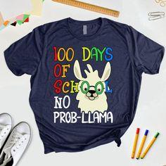 100 Days Of School No Prob Llama Shirt/ Llama Teacher T-Shirt/ Kindergarten Teacher llama lover Tee Day Of Preschool Student Principal Llama Shirt, My T Shirt, Short Sleeve Tee, Long Sleeve Shirts, Nursing Student Gifts, Kids Shirts, T Shirts For Women, Create Shirts, 100 Days Of School