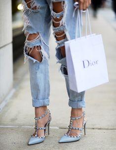 boyfriend jeans - valentino rockstud heels