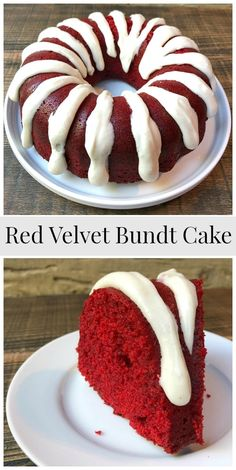 Red velvet bundt cake with cinnamon cream cheese glaze - Red Velvet Cake Red Velvet Cake Rezept, Red Velvet Bundt Cake, Red Velvet Pound Cake Recipe, Red Velvet Desserts, Red Velvet Recipes, Devils Food, Food Cakes, Cupcake Cakes, Just Desserts