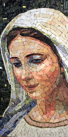 Gorgeous Madonna mosaic Would love to credit the artist but sad to say there is no info on who it is. Mosaic Glass, Mosaic Tiles, Glass Art, Stained Glass, Paper Mosaic, Mosaic Crafts, Mosaic Projects, Catholic Art, Religious Art