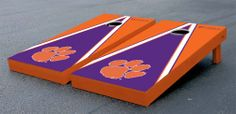 Our Clemson University Tigers Cornhole Game Set Triangle. Get your custom set at victorytailgate.com
