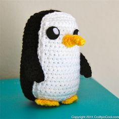 Adventure Penguin-This pattern is available for $3.99 USD. This is an innocent looking penguin inspired by Adventure Time -- once called the most evil creature in the world!