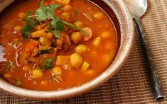 Brazen Kitchen: Heat up your cold nights with Harira — a rich and satisfying Moroccan chickpea soup. Veggie Recipes, Chicken Recipes, Healthy Recipes, Soup Recipes, Harira Recipe, Moroccan Chickpea Soup, Soup Dish, English Food, Food Shows