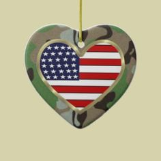 Patriotic USA Camo Christmas Tree Ornament