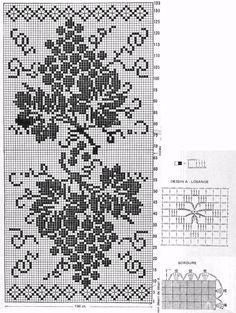 Filet Crochet Table Cloth Grapes