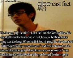 And he got to sing it in season Glee Memes, Glee Quotes, Kevin Mchale, Glee Club, Brenda Song, Movie Mistakes, Funny Facts, Best Shows Ever, Pretty Little Liars