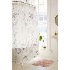 Black + White Marble Shower Curtain ($49) ❤ liked on Polyvore featuring home, bed & bath, bath, shower curtains, black shower curtains, urban outfitters and cotton shower curtains