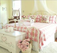 A gorgeous shabby, country cottage  style  bedroom.