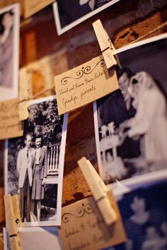 photo wall ...a great way to honor the memory of loved ones that passed before the wedding