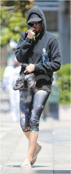 Charlize Theron wearing her Soffe Dri Capris in Black Cosmic
