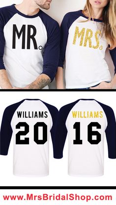 Customize your own MR & MRS Baseball Tees at www.MrsBridalShop.com! MRS. comes in Gold Glitter Print, customize your NAME & NUMBER.