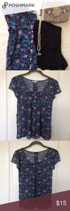 Delia's Blue and Purple Floral Blouse (S) Size Small - fits true to size; slightly sheer Delia's Tops Blouses
