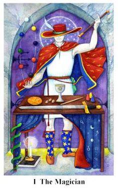 The Magician - Arto Tarot - Jane Estelle Trombley - Adam McLean 2008 Major Arcana Cards, Tarot Major Arcana, Divination Cards, Tarot Cards, Le Bateleur, The Magician Tarot, Moon Symbols, Red Hats, Tarot Decks