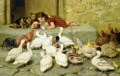 The Last Spoonful Painting  - Briton Riviere