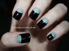 rebecca likes nails: half-moon mani  i always love half-moon mani's with mostly black. they look so sophisticated! and it makes bright colors really pop!