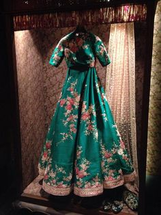 Inside the store - Green floral lehenga - Sabyasachi Spring Summer Weddings 2016 collection Indian Reception Outfit, Indian Wedding Outfits, Bridal Outfits, Indian Outfits, Indian Clothes, Desi Clothes, Indian Weddings, Wedding Dresses, Floral Lehenga