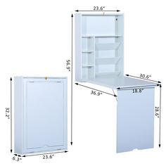 HomCom Fold Out Convertible Wall Mount Desk - White - Pop Up Deals