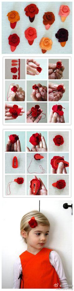 DIY Little Wind Rose Hairpins
