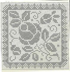 Filet Crochet Charts, Crochet Cross, Crochet Home, Thread Crochet, Crochet Motif, Crochet Designs, Crochet Stitches, Crochet Patterns, Biscornu Cross Stitch