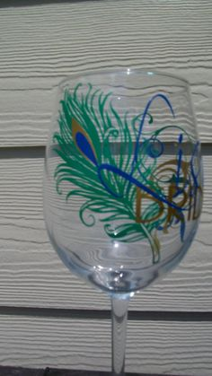 @ katie white... peacock wine glasses i saw and thought about priscilla's wedding