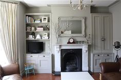 Modern Country Style: Top 20 Most Inspiring Rooms From Farrow And Ball Paint Click through for details. A serene and stunning living room in the very changeable Farrow and Ball Hardwick White. Alcove Cupboards, Built In Cupboards, My Living Room, Home And Living, Living Room Decor, Small Living, Dining Room, Cosy Home, Modern Country Style