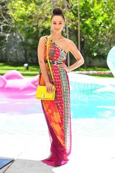 Cara Santana in a custom DVF dress and the LES crossbody. #chillchella