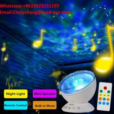 Lamps, Lighting & Ceiling Fans Ocean Wave Projector Remote Control Night Light Lamp 7 Colorful Projector...