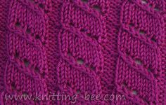 Diagonal Lace Stripe Knitting Stitch - A rib stitch pattern with diagonal strands of openwork.