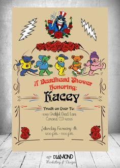Grateful Dead Baby Shower Invitation by SkullsandDiamonds on Etsy