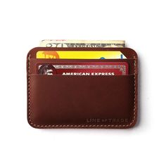 $50.   This slim, refined take will lighten your back pocket while easily fitting everything you need. It's made out of the same resilient, buttery leather that Red Wing uses for their boots, so you know it'll last for ages and only improve with time. There's just the right amount of space for cards (up to 15 of 'em) and cash in the hidden center pocket. And it's all easy to access thanks to the layered pocket design that lays flat in your pocket to eliminate bulk.